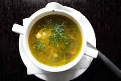 Plate with chicken soup Royalty Free Stock Image
