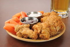 Chicken wings and beer Stock Photography