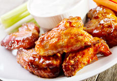 Plate of chicken wings Stock Images