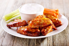 Plate of chicken wings Royalty Free Stock Photos