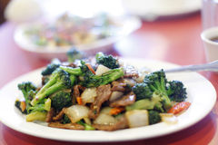 Plate of Chinese beef broccoli Stock Images
