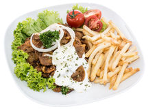 Plate with Chips and fresh Kebab on white Stock Images
