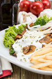 Plate with Chips and fresh Kebab Royalty Free Stock Images