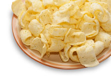 Plate of chips isolated Royalty Free Stock Image