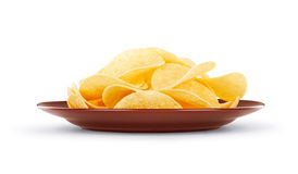 Plate with chips Stock Photo