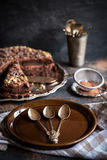 Plate and chocolate cake Royalty Free Stock Image