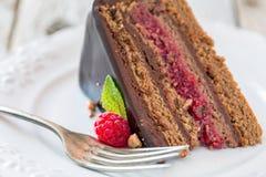 Plate with chocolate cake. Stock Photos