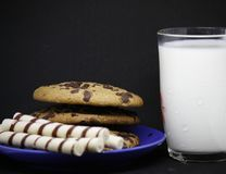 A plate of chocolate chip cookies on a blue plate with a glass of milk on a black background close-up. A plate of chocolate chip cookies on a blue plate with a royalty free stock photography