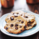Plate of chocolate chip cookies Stock Images