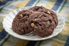 Plate Of Chocolate Chip Cookies Stock Photography
