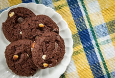 Plate Of Chocolate Chip Cookies Stock Image