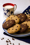 Plate Of Chocolate Chip Cookies Milk Mug Stock Images