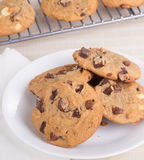 Plate of Chocolate Chip Cookies Stock Photos