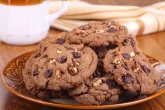Plate of Chocolate Chip Cookies Stock Photo