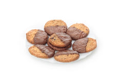 Plate with chocolate cookies Royalty Free Stock Photography