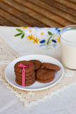 Plate of chocolate cookies Royalty Free Stock Images