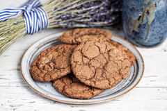 Plate of chocolate cookies Stock Photo