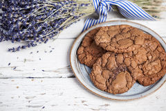 Plate of chocolate cookies Royalty Free Stock Photo