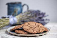Plate of chocolate cookies Stock Photography