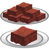 Plate of Chocolate Fudge Brownies Stock Images