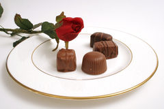Plate of chocolate & rose. Shot of a plate of chocolate & rose Royalty Free Stock Image