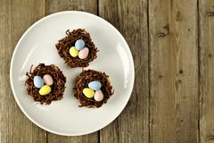 Plate of chocolate spring nests on rustic wood Stock Images