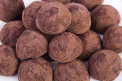 Plate of chocolate truffes Royalty Free Stock Photos