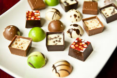 Plate of chocolates Stock Photos