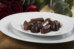 White Plate of Chocolates Stock Photography