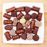 Plate of chocolates Stock Image