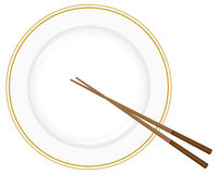 Plate and chopsticks. On a white background. Vector illustration Stock Photography