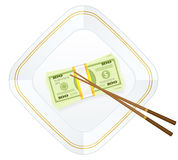 Plate chopsticks and dollar pack. Plate, chopsticks and dollar pack on a white background Royalty Free Stock Photos