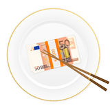 Plate chopsticks and fifty euro pack Stock Photography
