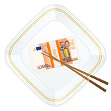 Plate chopsticks and fifty euro pack. Plate, chopsticks and euro banknotes pack on a white background Stock Image