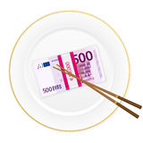 Plate chopsticks and five hundred euro pack Royalty Free Stock Images