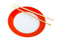 Plate and chopsticks Stock Photos