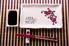 Plate with chopsticks for sushi Royalty Free Stock Photography