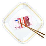 Plate chopsticks and ten euro pack Stock Image