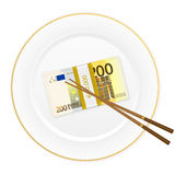 Plate chopsticks and two hundred euro pack. Plate, chopsticks and euro banknotes pack on a white background Stock Photo