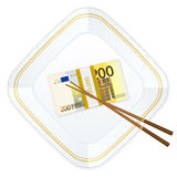 Plate chopsticks and two hundred euro pack. Plate, chopsticks and euro banknotes pack on a white background Royalty Free Stock Image