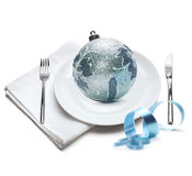 Plate with christmas ball Stock Image