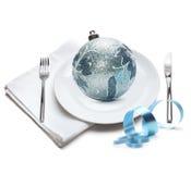 Plate with christmas ball Stock Image