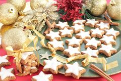 A plate of Christmas cinnamon cookies Stock Images