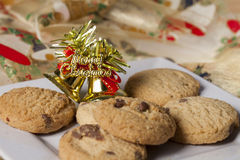 Plate of Christmas cookies with merry christmas decoration Stock Photography