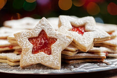 Plate of Christmas cookies under lights Stock Photos