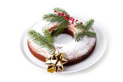 Plate With Christmas Donut Royalty Free Stock Photography