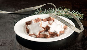 Plate of Christmas star biscuits Royalty Free Stock Images
