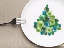 Plate with christmas tree Stock Photos