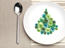 Plate with christmas tree Stock Photography