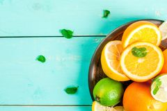 Plate with citrus fruits Stock Photography